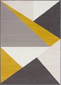 """The Rug House Milan Alfombra Moderna con diseño Abstracto Llamativo Color Amarillo Ocre Mostaza Dorado Grafito Verde 120cm x 170cm (3'11"""" x 5'7"""")"""