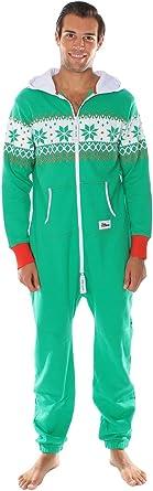 Tipsy Elves Pijama navideno Verde de Cuerpo Entero. Estampado de grecas Alpinas