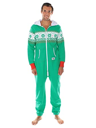 tipsy elves ugly christmas sweater party fair isle green adult jumpsuit size s