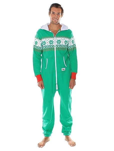 Tipsy Elves Pijama navideno verde de cuerpo entero. Estampado de grecas alpinas Size XXS