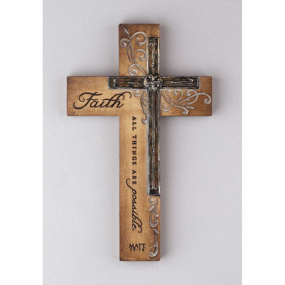 Dicksons Faith All Things Filigree Wood Look 9 Inch Resin Stone Hanging Wall Cross by Dicksons (Image #2)
