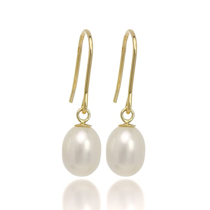 Doyenne AAA White Freshwater Pearl Gold Filled Drop Pierced Earrings With Gift Box B5bGrsaB