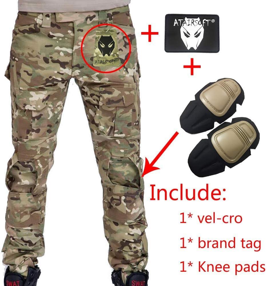 Pantalones de combate para hombres tipo uniforme BDU (Uniforme de battalla) con rodilleras Multicam MC para ejército militar, Airsoft y Paintball., color camuflaje, tamaño medium: Amazon.es: Deportes y aire libre