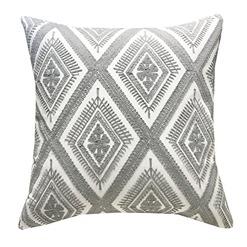 (SLOW COW Cotton Embroidery Throw Pillow Cover Decorative Cushion Cover 18x18 Inch Gray)