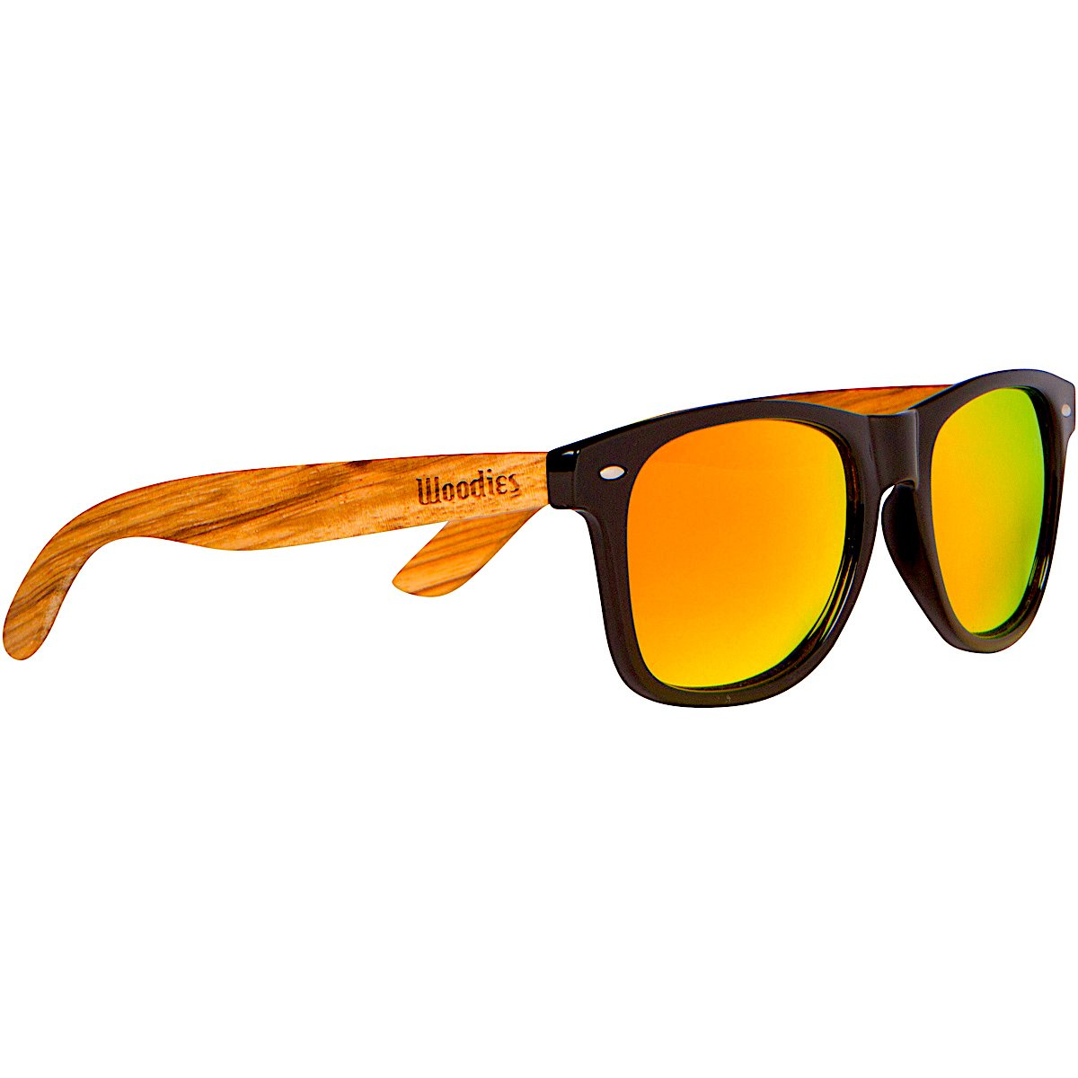 5d1db7478e1d0 WOODIES Zebra Wood Wayfarer Sunglasses with Orange Mirror Lens  Amazon.in   Clothing   Accessories