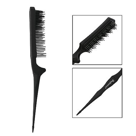 Plegable Cepillo de desmonte Teasing Peine para cabello fino, Mini Tease Brush Triples Cepillo Backcombing, Cortes de cabello Pincel de seccionamiento para ...