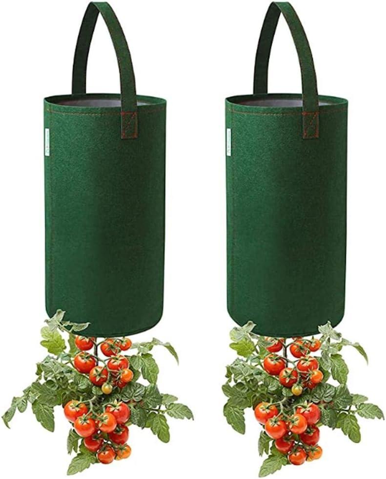2Pcs Upside Down Tomato Growing Bag Home Balcony Garden Plant Bag Multifunction Strawberry Vegetable Flower Plant Grow Bags Felt Hanging Tomato Grow Bag