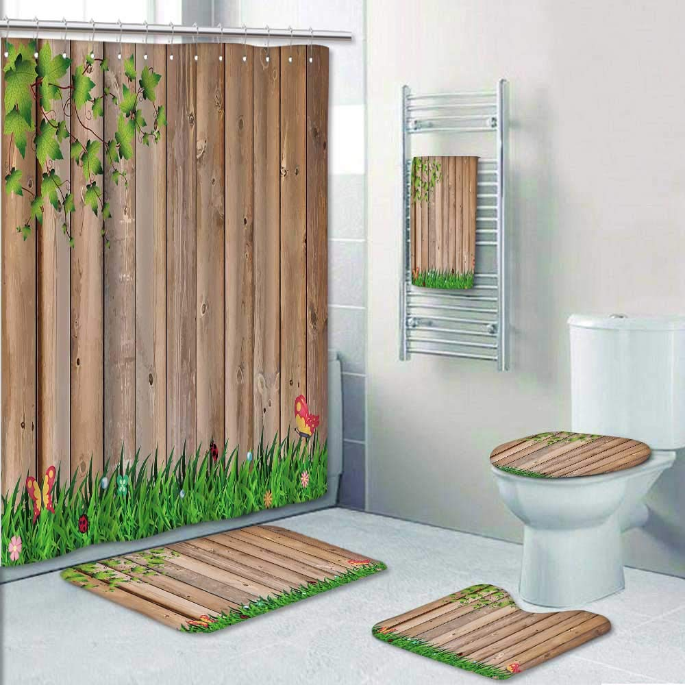 Philip-home 5 Piece Banded Shower Curtain Set s on Wood Wooden constructions Decorate The Bath