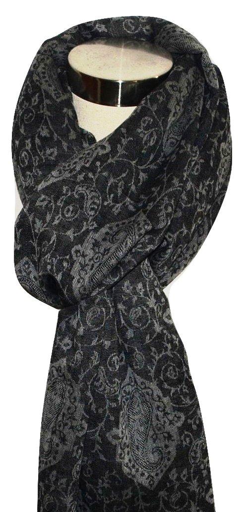 Reversible Pashmina & Fine Wool, Paisley Jacquard, Melange, Super Soft, Light, Warm Scarf. X2199, Black