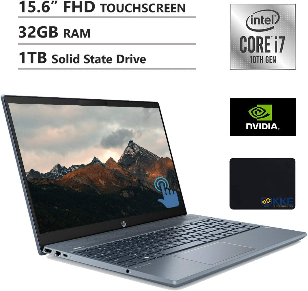 "HP Pavilion 15.6"" FHD Touchscreen Laptop, Intel i7-1065G7, 32GB RAM, 1TB SSD, GeForce MX250, B&O Play Audio, Backlit Keyboad, KKE Mousepad, Fog Blue, Win10 Home"
