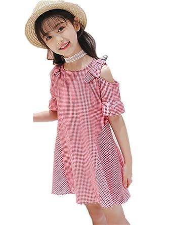 7e870ab1da887 Yijz子供服 ワンピース ガールズ オフショルダー チェック柄 肩開き 綿 キッズ 女の子 ドレス (