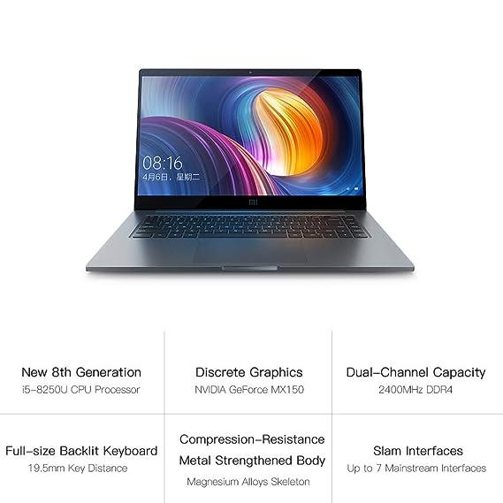 Docooler Portátil Xiaomi Mi Notebook Pro Delgado y liviano 15.6 Pulgadas i5-8250U 8GB DDR4 256GB SSD Teclado retroiluminado Windows10 MX150 Reconocimiento ...