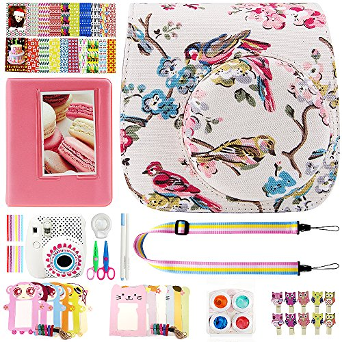 Elvam 12 in 1 Camera Accessory Bundles Set for Fujifilm Instax Mini 8 – Vintage Birds Floral (Mini 8 Case/Camera Strap/Album/Film Frames/Stickers/Border Stickers/Lens/Filter/Owl Clip/Pens/Scissors)