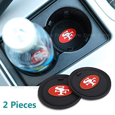 2 Pack 2.75 inch for San Francisco 49ers Car Interior Accessories Anti Slip Cup Mat for All Vehicles (San Francisco 49ers): Automotive