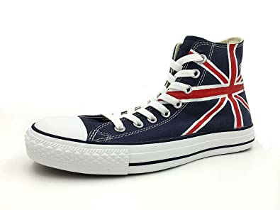 e550d7a515 Image Unavailable. Image not available for. Colour: UK British Flag Shoes  Hand Painted Union Jack Men Women High Top Canvas Sneakers