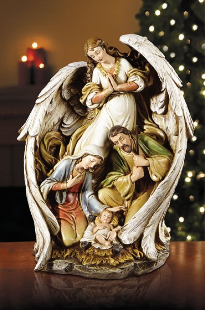 Angel With Nativity Scene, 15'' H.