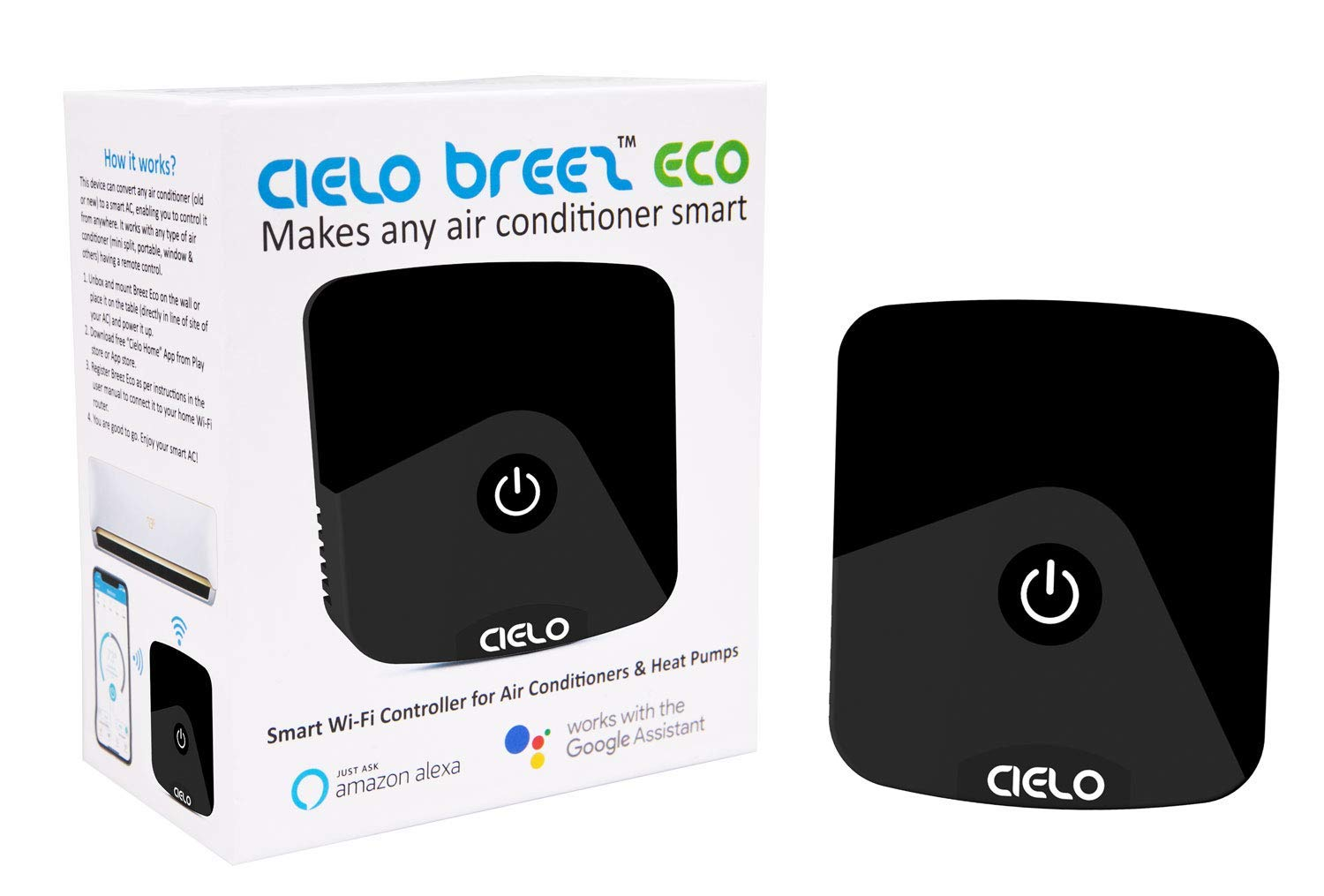 Cielo Breez Eco, Smart Air Conditioner Remote Controller | Best Priced with Complete Range of Intelligent Controls | Amazon Alexa, Google Home, iOS, Android & Web Compatible | Makes Your A/C Smart