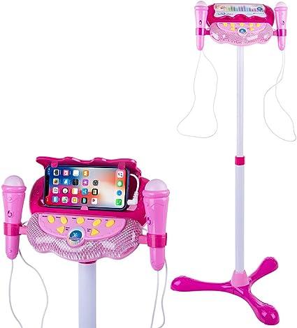 Blue Kids Boys Mp3 Karaoke Twin 2 Microphone Adjustable Stand Music Light