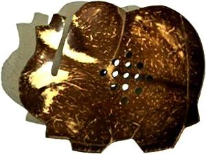Thai JJ Mart 2 Pieces Cute Elephant Wooden Coconut Shell Soap Case Holder, for Sponges Scrubber Bathroom Sink Deck Shower Accessories Tray in Bed Room,Shrine Shelf, Home and Spa Resort,Garden,Gar