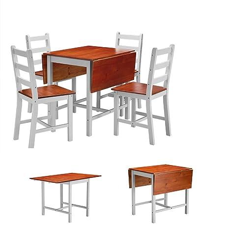 Sproutor Juego de Mesa de Comedor Plegable con sillas, 4 ...