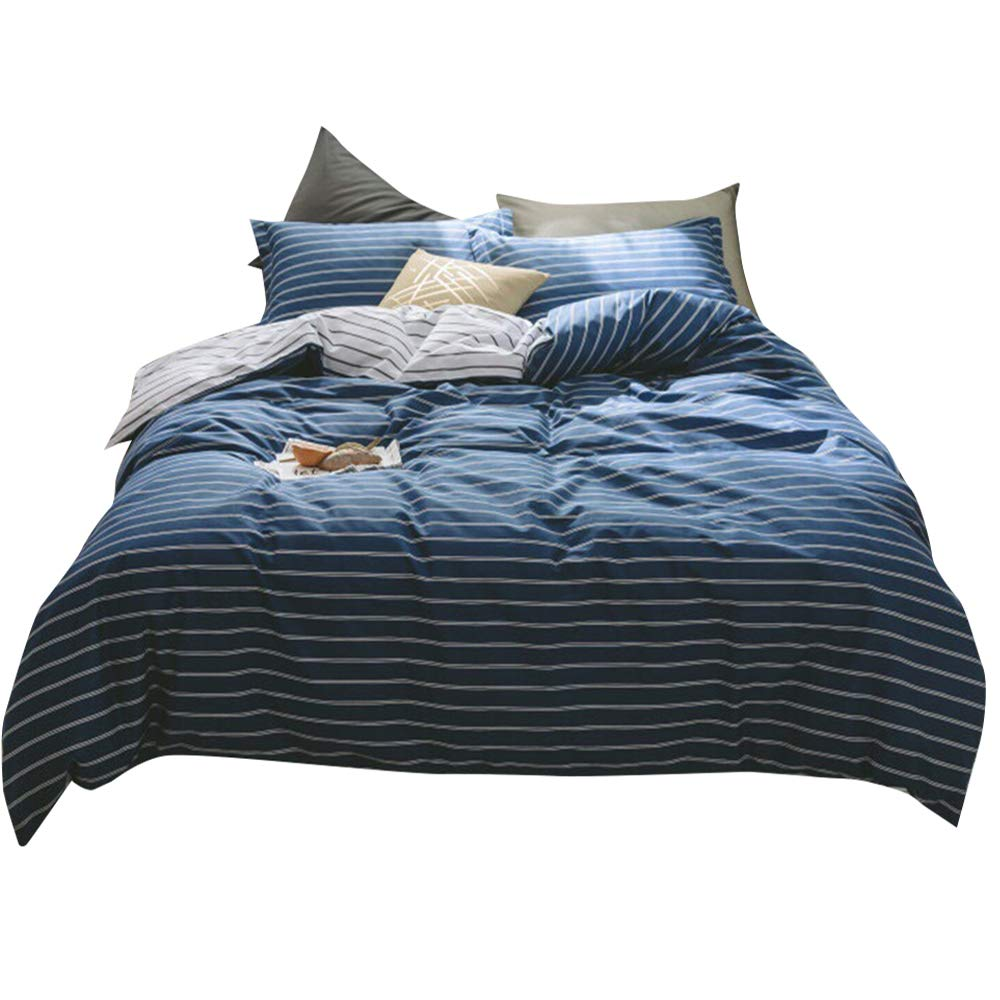 Modern Striped Duvet Cover Set Twin Navy Blue White Reversible Bedding Set Hotel Soft Cotton Duvet Quilt Cover Set for Men Boys Teens Adults 3 Piece Luxury Twin Bedding Collection with 2 Pillowcases