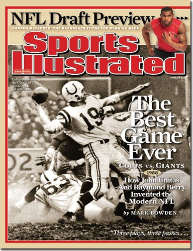 ore Colts vs New York Giants 1958 - Best Game Every (Sports Illustrated Magazine - April 2008) (1958 Baltimore Colts)