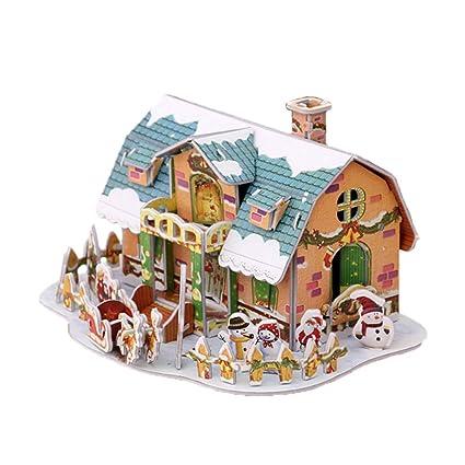 Amazoncom Wansan 3d Laser Cut Christmas House Puzzle