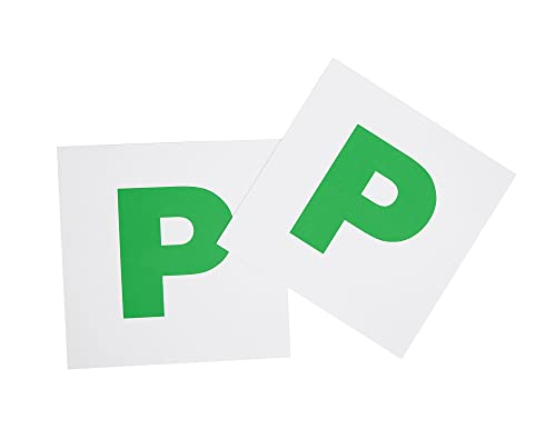 Fully magnetic green p plates 2 pack extra strong stick on for new learner drivers