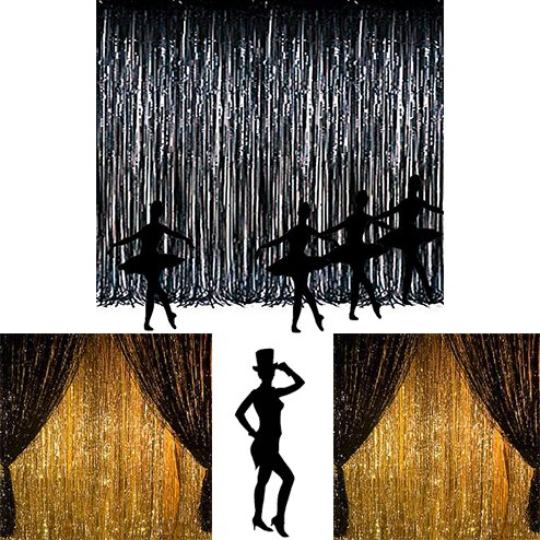 Adorox Metallic Silver Gold Rainbow Foil Fringe Curtains Party Wedding Event Decoration (Metallic Black) (Black & Silver Party Decorations)