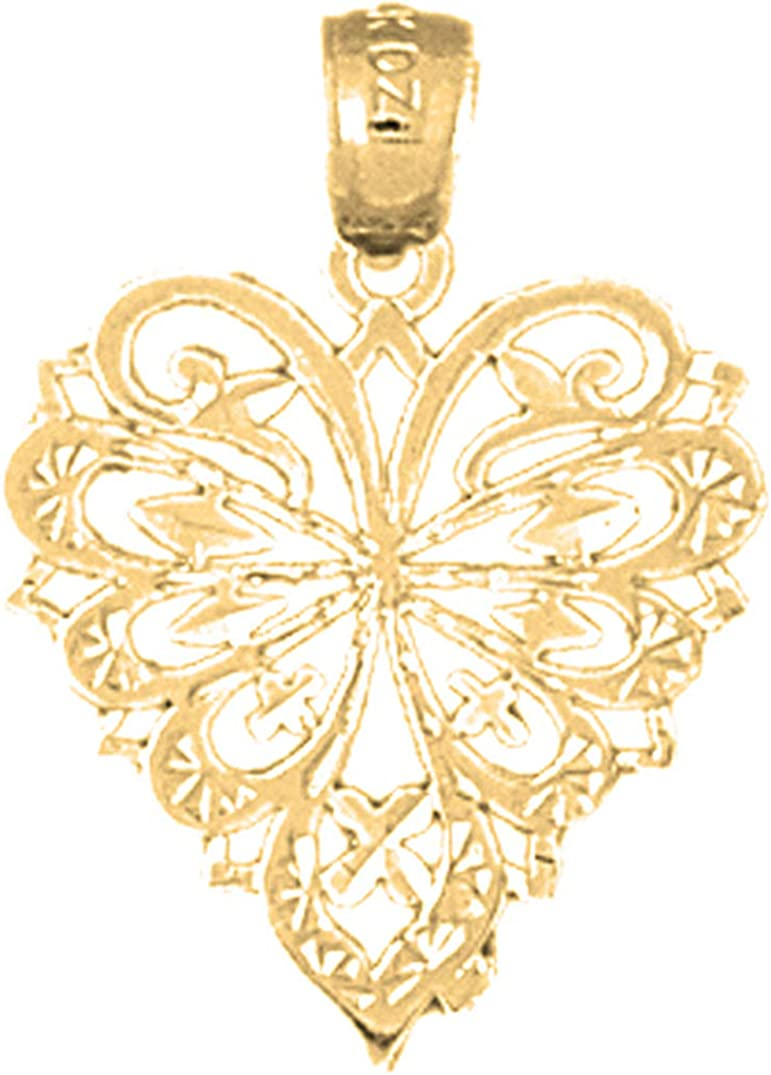 Jewels Obsession Silver Heart Pendant 14K Yellow Gold-plated 925 Silver Heart Pendant