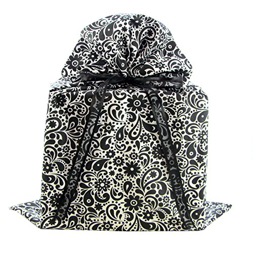 Reusable Fabric Gift Bag with Flowers and Swirls for Bridal Shower, Wedding Gift, Mother's Day or Any Occasion (Black & White, Large 20 Inches Wide by 27 Inches High) ()