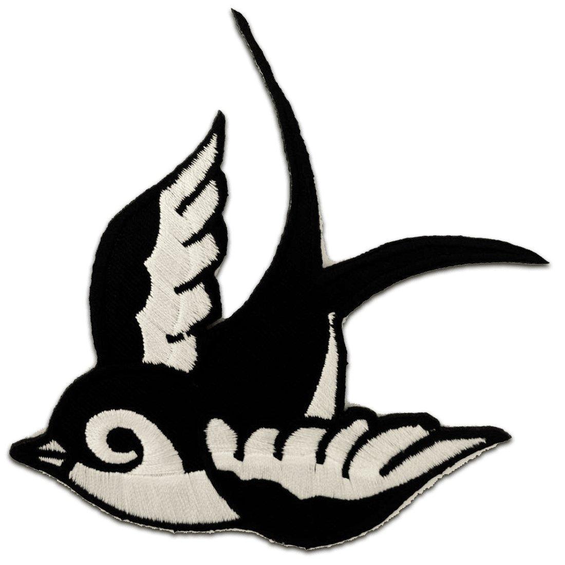 Toppe termoadesive - rondine uccello - nero - 9, 5x6, 3cm - Patch Toppa ricamate Applicazioni Ricamata da cucire adesive catch-the-patch