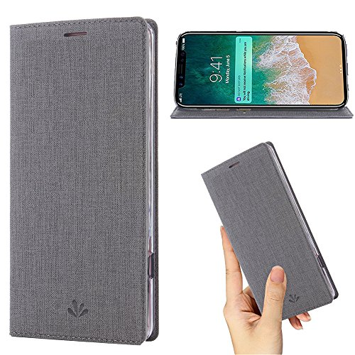 Iphone X Case,PU Leather Wallet Slim Thin Case Flip Folio [Kickstand Feature] with ID&Credit Card Holder Magnetic Closure TPU Bumper Full Cover Case for Apple Iphone X (Gary)