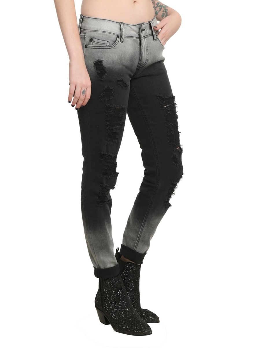 Hot Topic Lovesick Bleached Destroyed Skinny Jeans