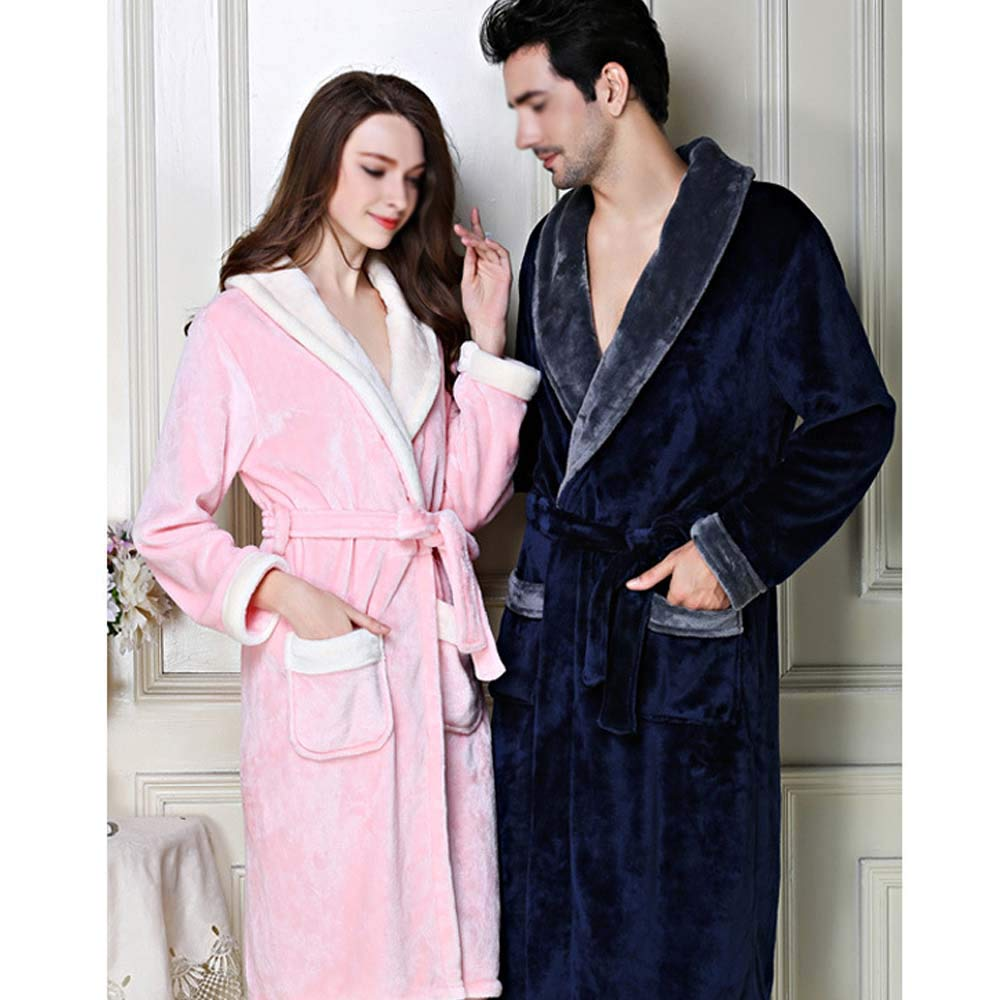 YONGYONG Pajamas Autumn and Winter Coral Fleece Long Bathrobes Couple Pajamas Mens Thickening Home Service YONGYONG Color : Gray B, Size : XXL