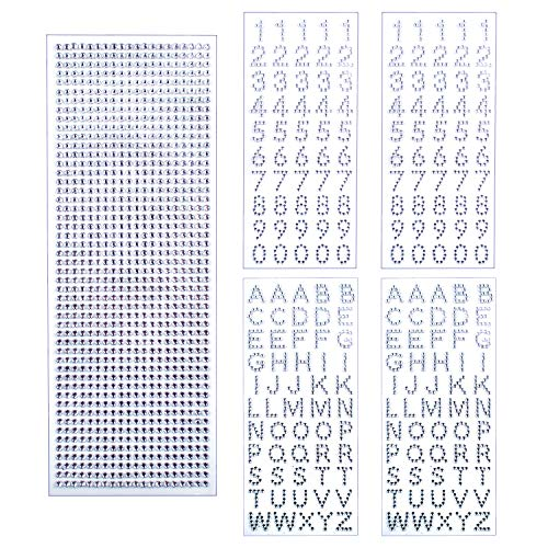 Rhinestone Stickers, 5 Sheets Self-Adhesive Glitter Alphabet Letter Number Stickers and Crystal Gems Border Stickers for Graduation Cap Decoration and Other Handicraft - Silver
