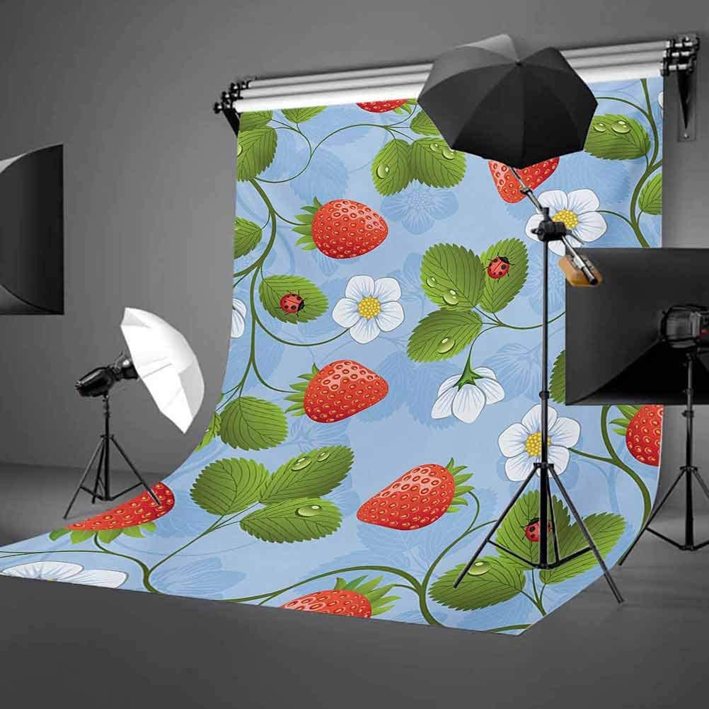 Ladybugs 8x10 FT Photography Backdrop Strawberries Daisies and Ladybugs Looks Like Ivy Plant Spotted Insects Image Background for Child Baby Shower Photo Vinyl Studio Prop Photobooth Photoshoot