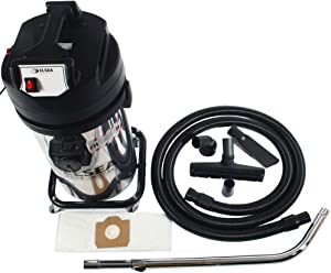 Cen-Tec Systems Hamiantus 10 Gallon Dry Commercial Canister Vacuum with 4-Stage Filtration, Stainless Steel