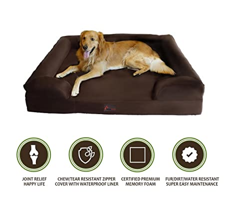 PetBed4Less Deluxe Dog Bed Sofa U0026 Lounge W/ Premium Orthopedic Memory Foam  And Chew Resistant