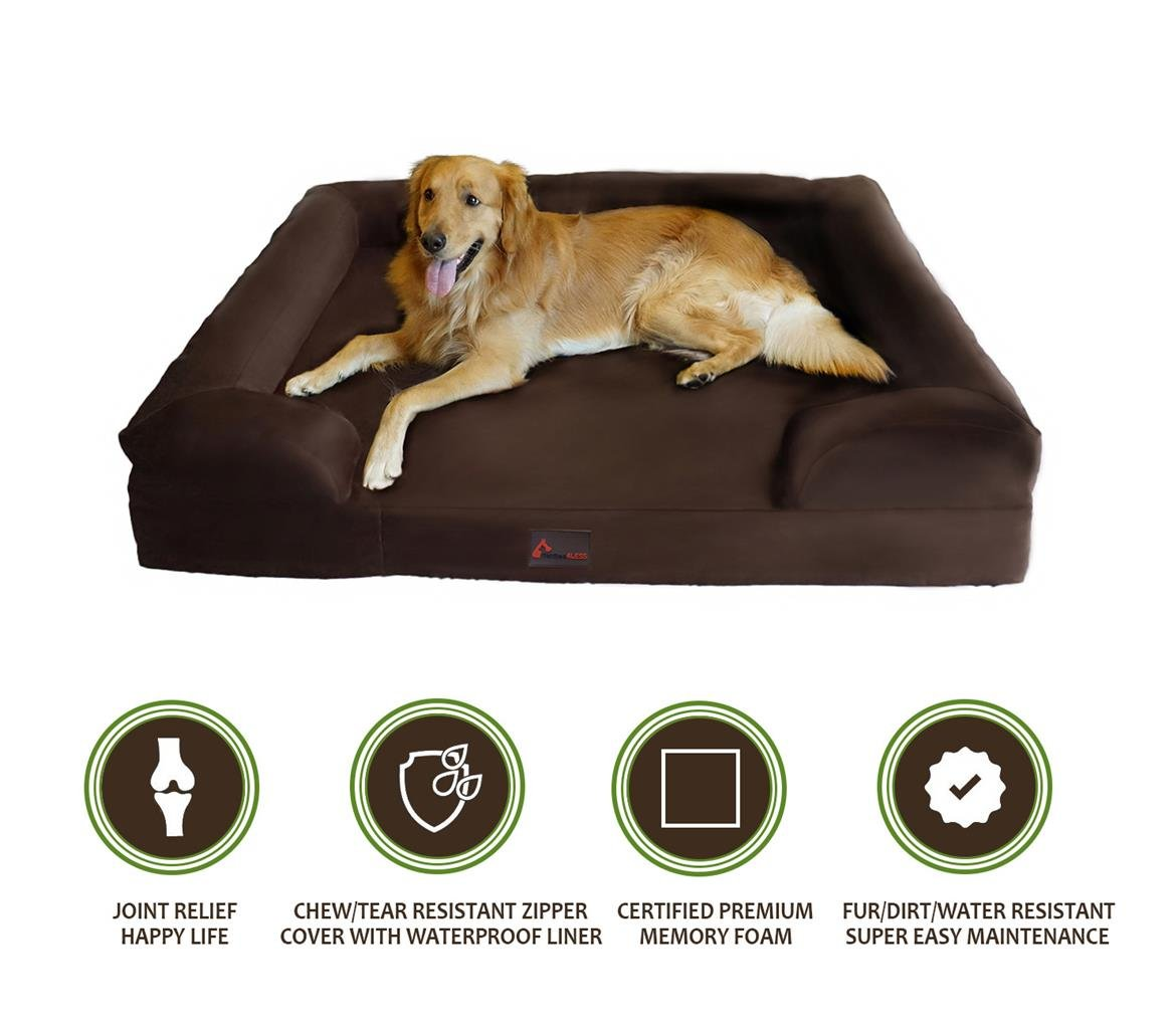 PetBed4Less Deluxe Dog Bed Sofa & Lounge w/ Premium Orthopedic Memory Foam and Chew Resistant Zipper Cover + Waterproof Liner [Replacement zipper covers available]