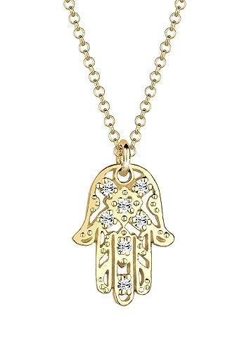 Elli Damen Schmuck Halskette Kette mit Anhänger Hamsa Hand Fatima Talisman  Orientalisch Silber 925 Vergoldet Swarovski® Kristalle Gold Länge 45 cm  ... 194ff84e69
