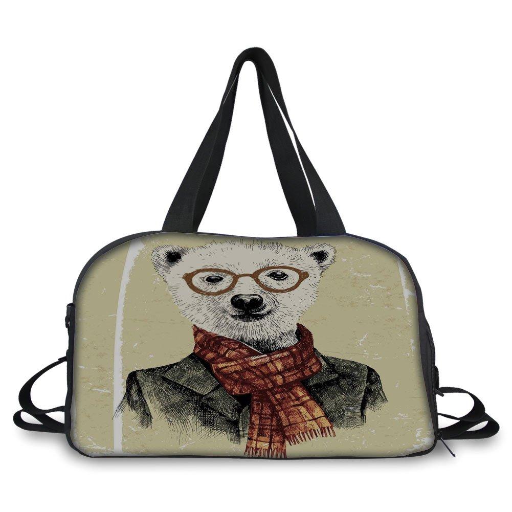 iPrint Travelling bag,Animal,Hipster Bear with Glasses Scarf Jacket Wild Mammal Humorous Artwork,Cream Dark Orange Black ,Personalized