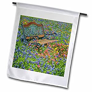 3dRose fl_94439_1 Bench in Field of Wildflowers Near Yoakum Texas US44 Dgu0093 Darrell Gulin Garden Flag, 12 by 18-Inch