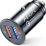 AINOPE USB Car Charger, [Dual QC3.0 Port] 36W/6A [All Metal] Fast Car Charger Adapter Mini Cigarette Lighter Usb Charger…