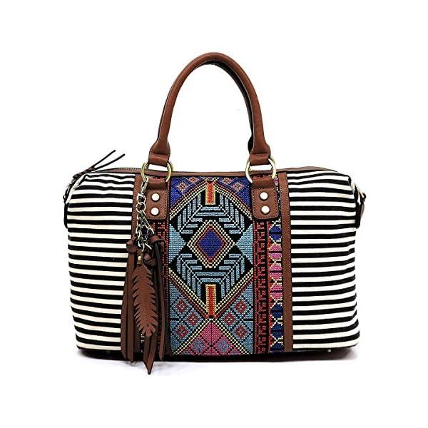 f4d93452506b Boho striped canvas satchel bags with long shoulder strap - Bohemian  Fashion Corner