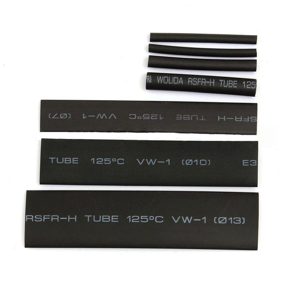 R 127Pcs Black Glue Weatherproof Heat Shrink Sleeving Tubing Tube Assortment Kit SODIAL
