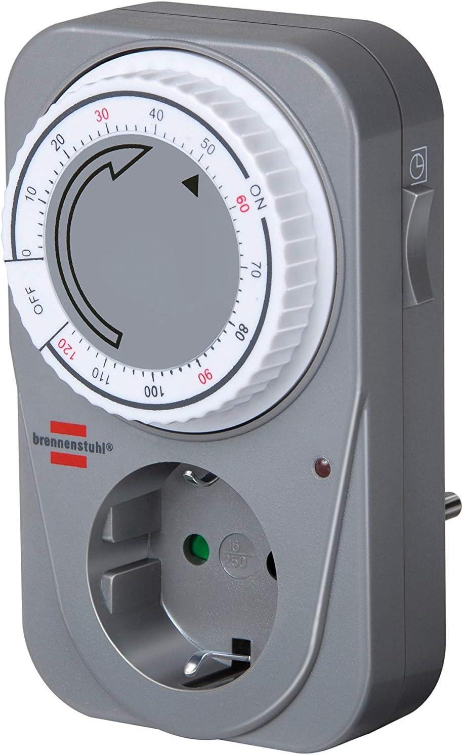 Brennenstuhl Countdown Timer MC 120 Prise de Minuterie M/écanique Minuterie pour Prise avec Fonction de Compte /à Rebours et S/écurit/é Enfant Gris