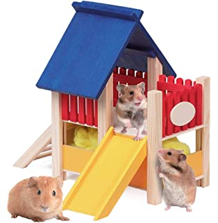 petlicity wooden hamster playground natural cedar wood climb and hide pet boredom breaker. Black Bedroom Furniture Sets. Home Design Ideas