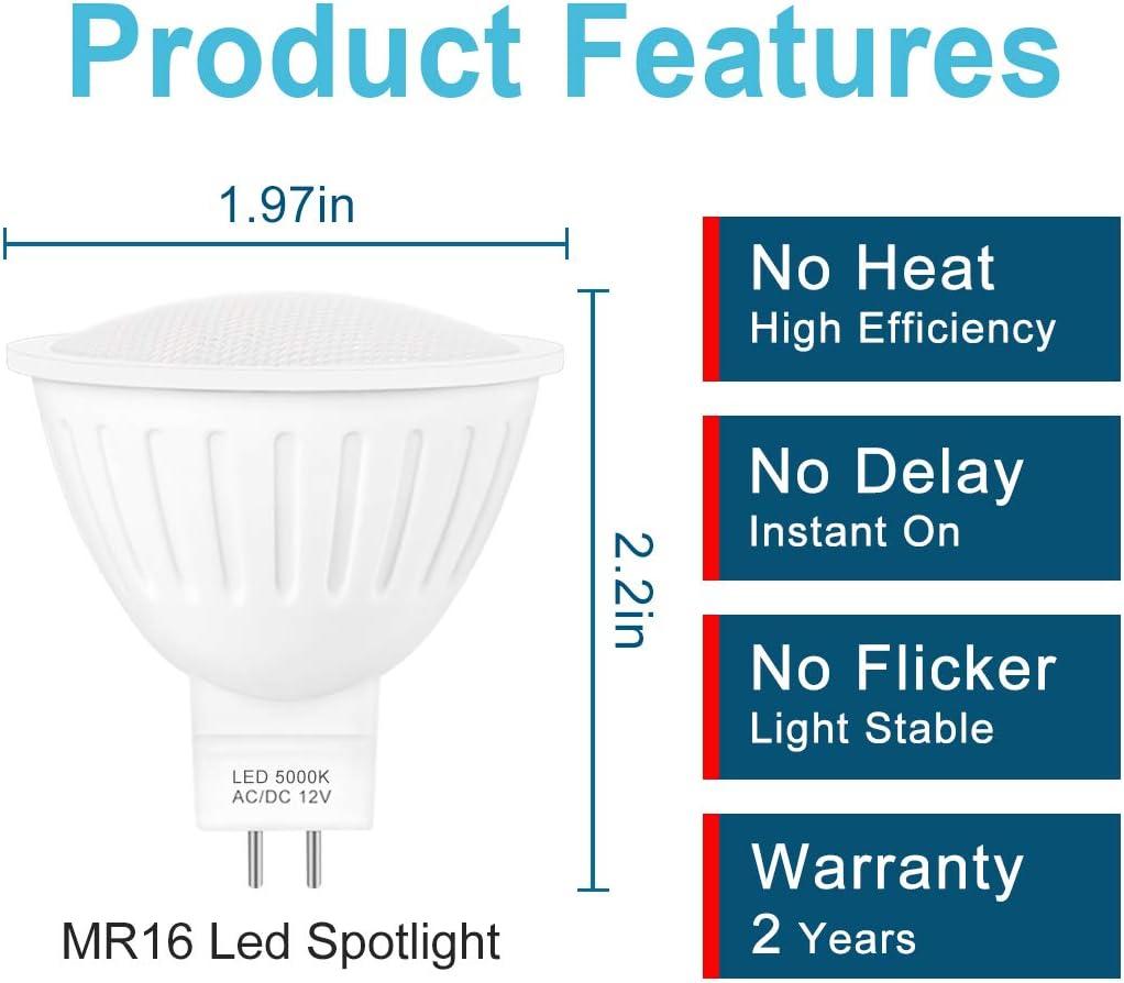 Mr16 Led Spotlight Bulb GU5.3 Base 3000K Soft White,High Lumen Energy Saving Bulb 6- Pack Low Voltage Flood Lights Led Bulb Replacement for Halogen,7w=60w