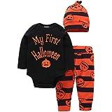 BOBORA Ropa Bebé Niña, Bebé Niña Niños Mamelucos de Manga Larga de Halloween + Pantalones de Flores de Calabaza + Sombrero por 0-24Meses